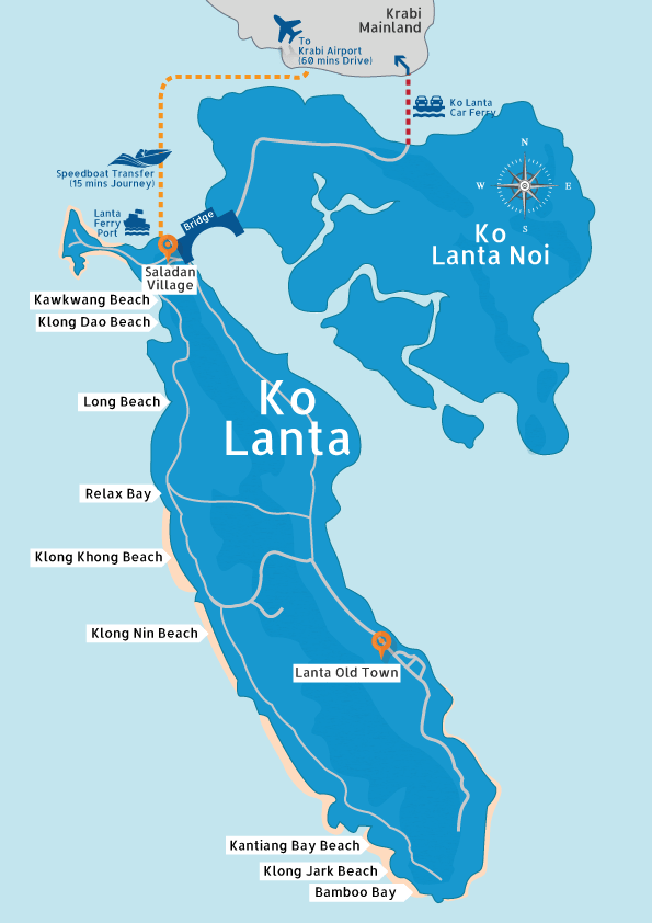 Koh Lanta map courtesy of  Kalanta.net