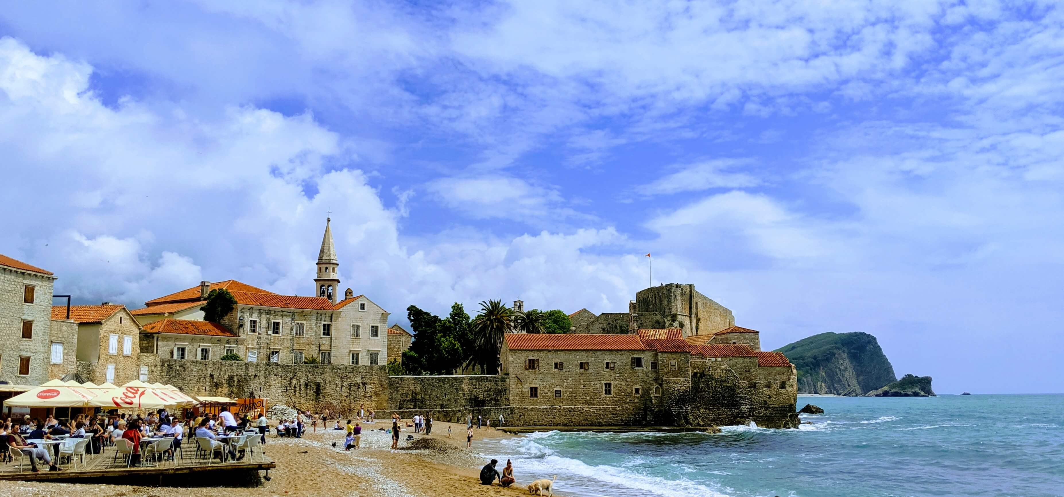 Budva's Old Town from the beach.