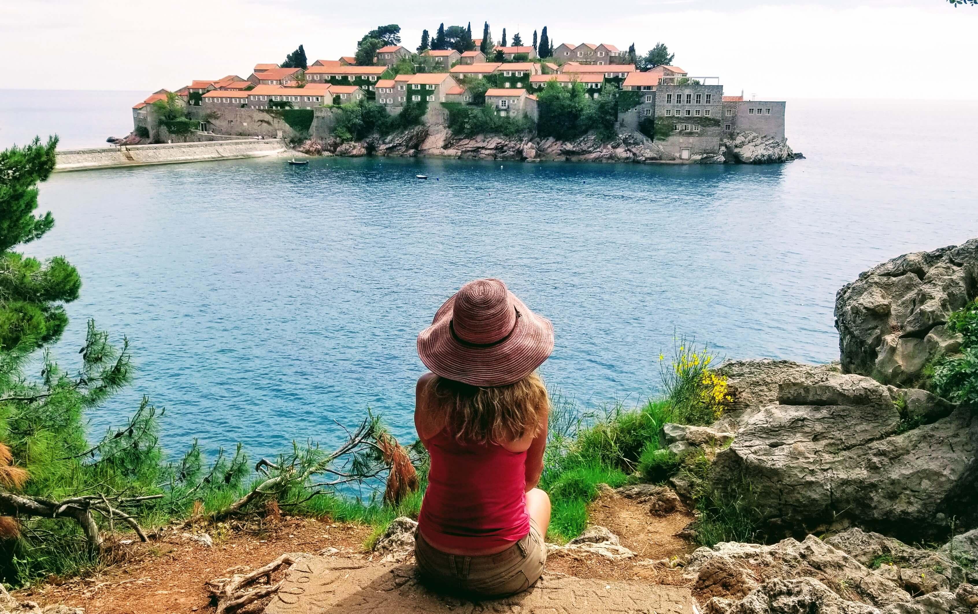 Masha looking over at Sveti Stefan Island.