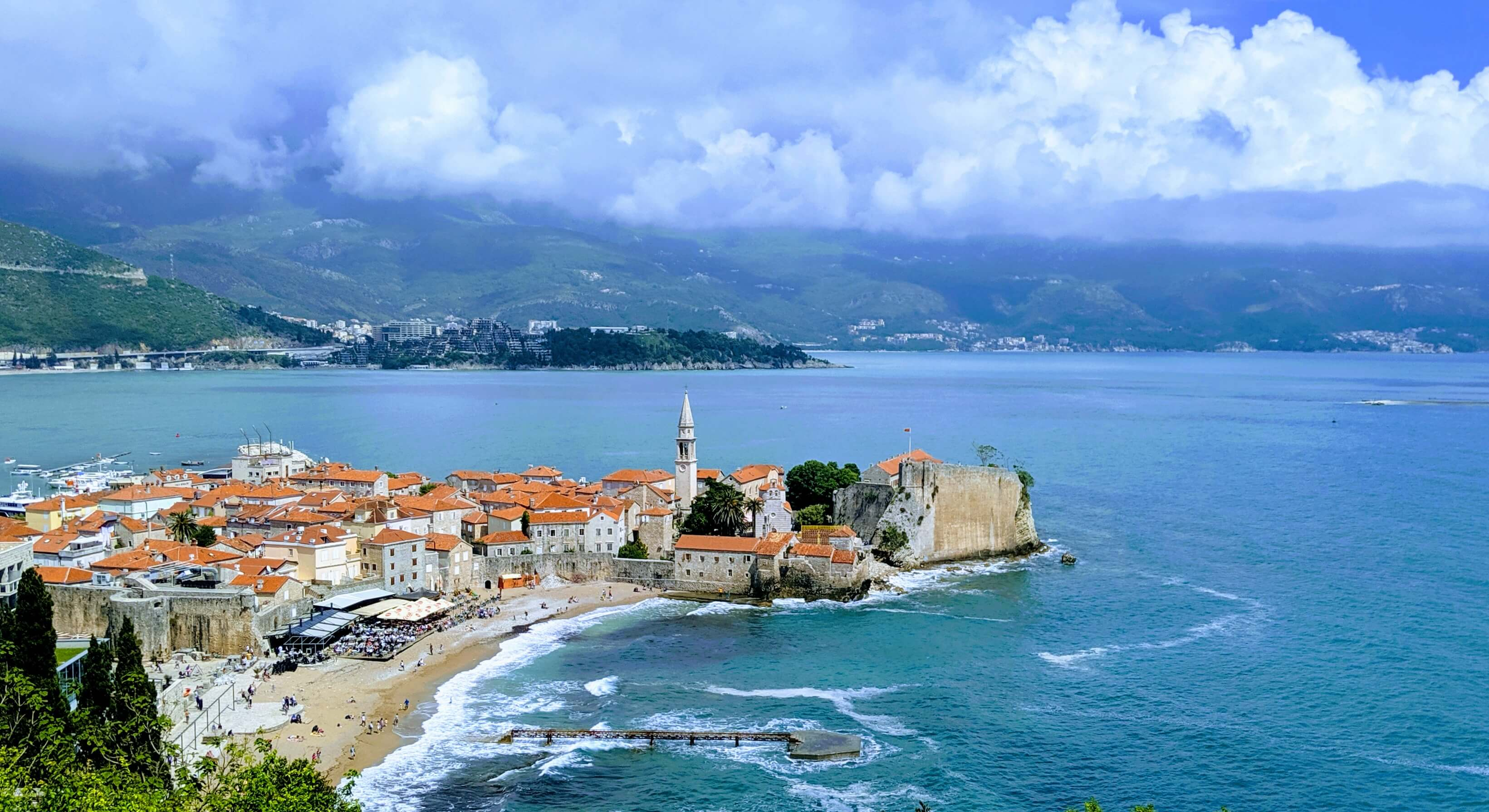A view of Budva's Old Town from above.