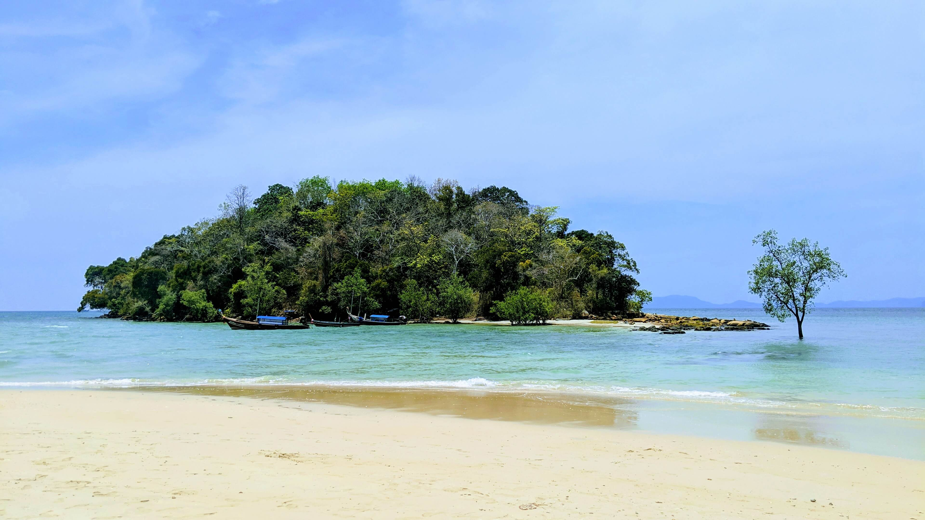A tiny island within swimming distance of Klong Muang Beach.