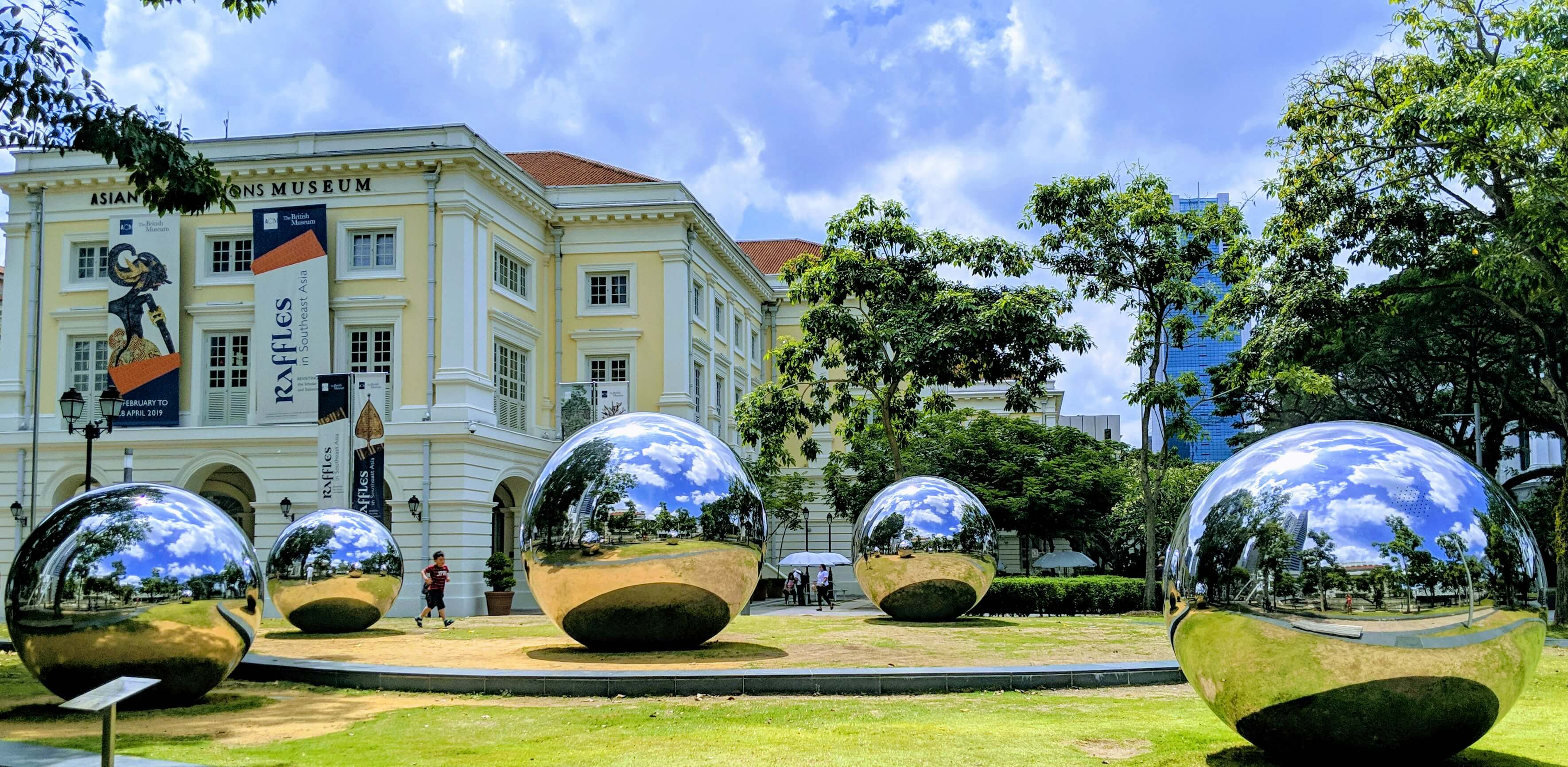 Giant mirrored balls in front of the Asian Civilizations Museum.