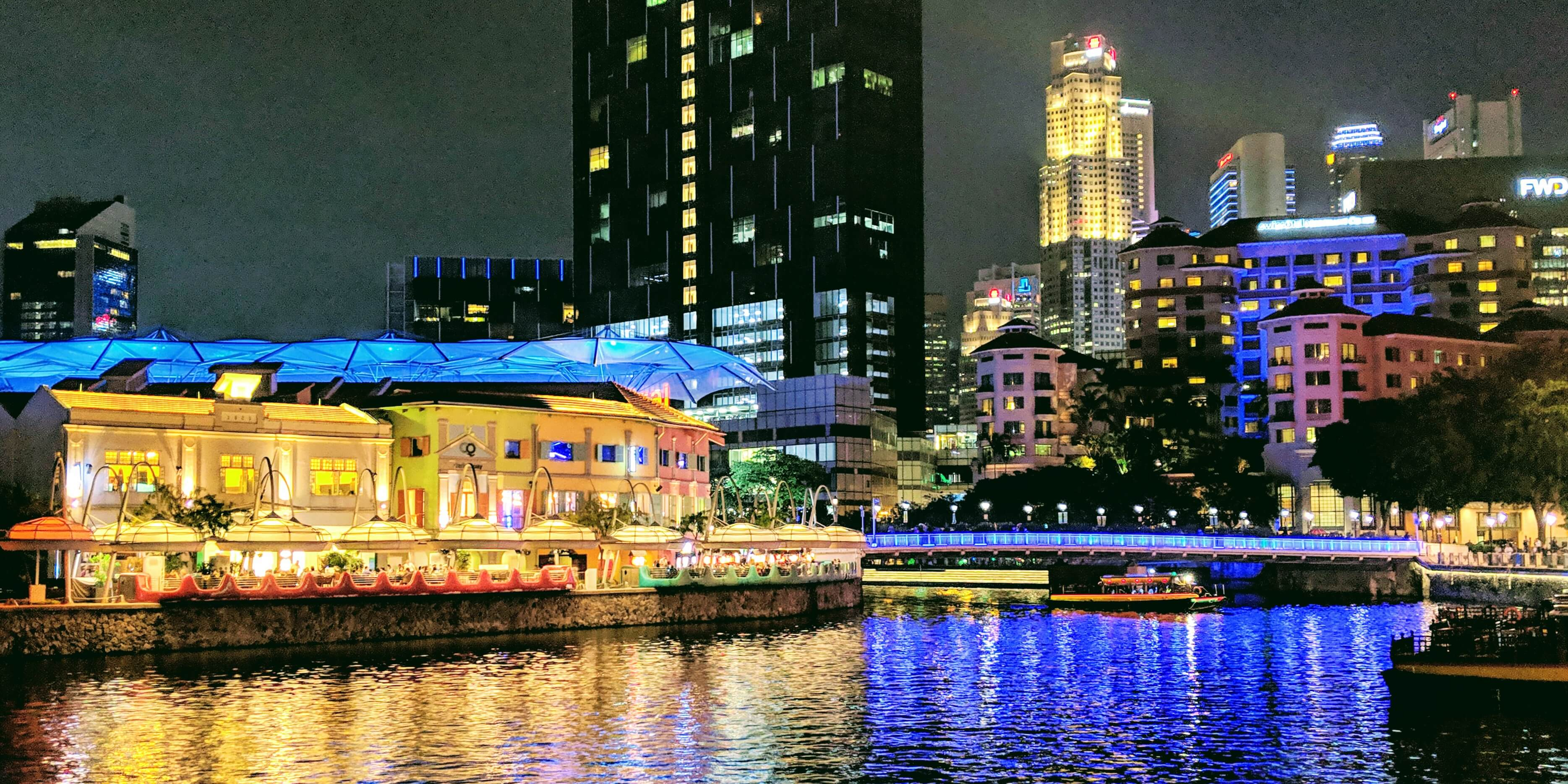 The beautiful colors of Clarke Quay at night.
