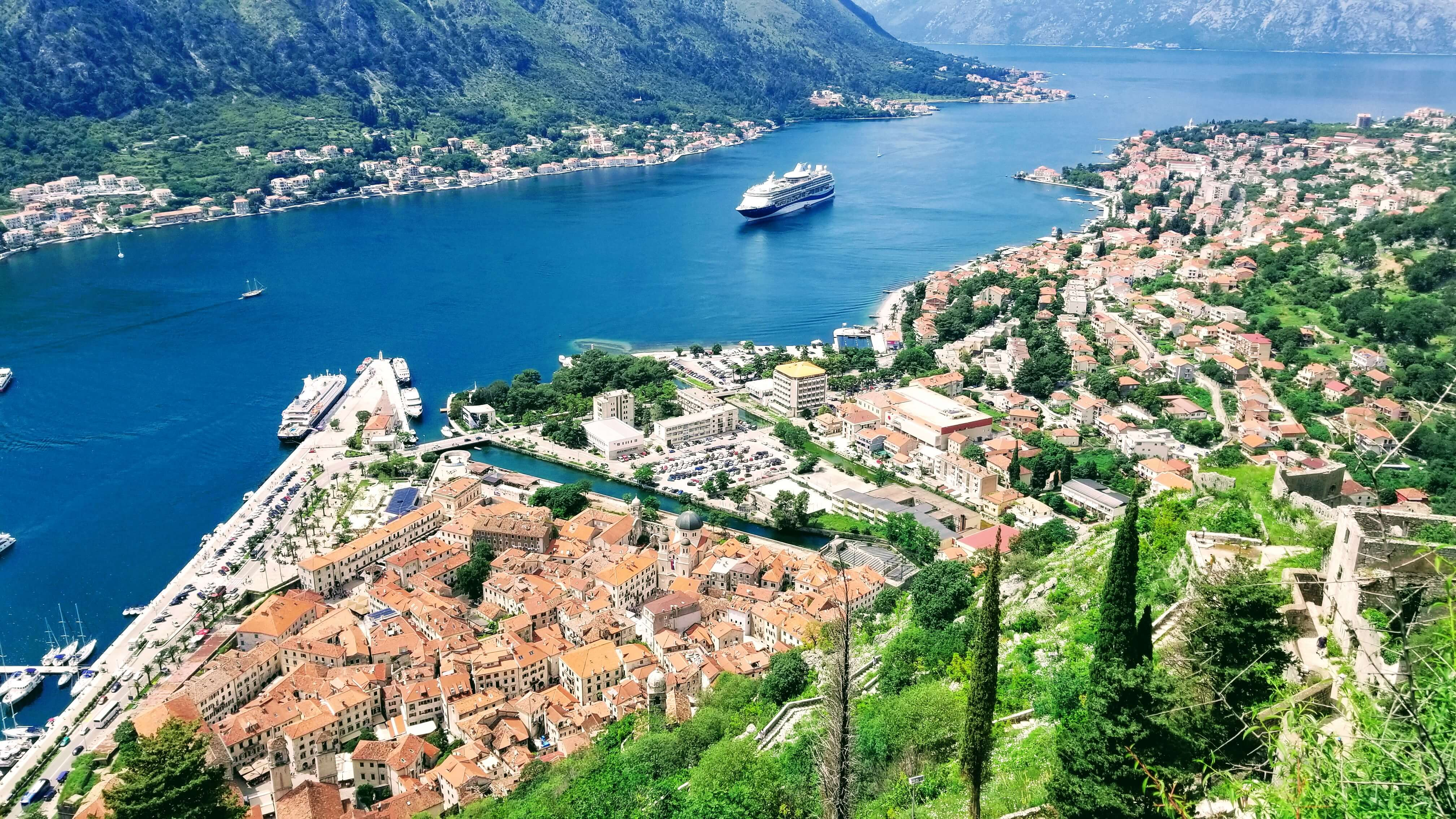 The view of Kotor city from the Fortress