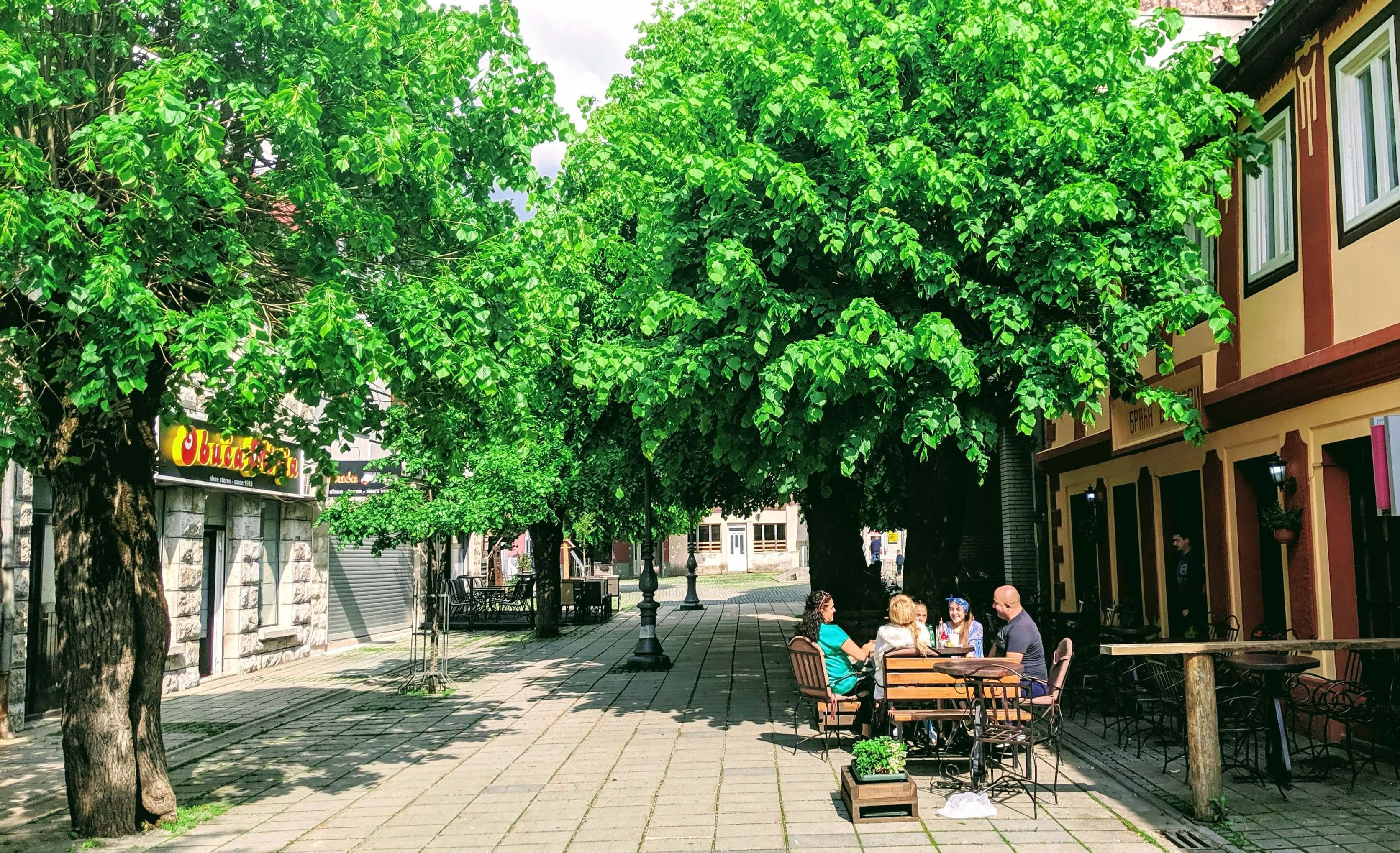 Cafes along Kolasin's small old town.