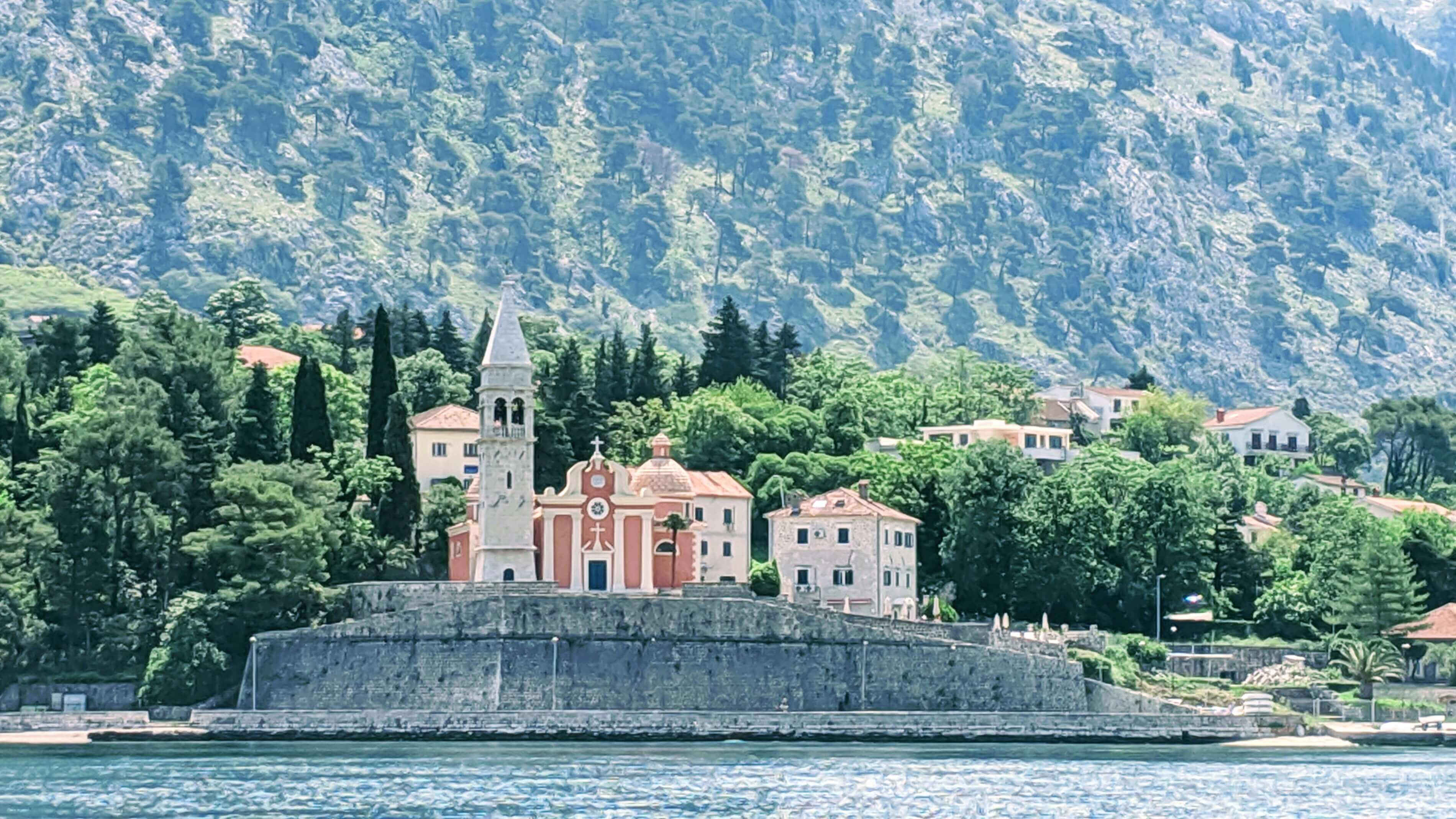The view of Dobrota from a boat.  A boat ride around Kotor Bay is one of the top things to see and do in Montenegro.