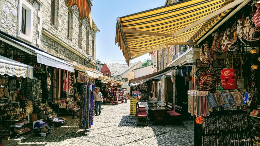 Colorful Old Town Bazaar is one of the 9 things to see and do in Mostar.