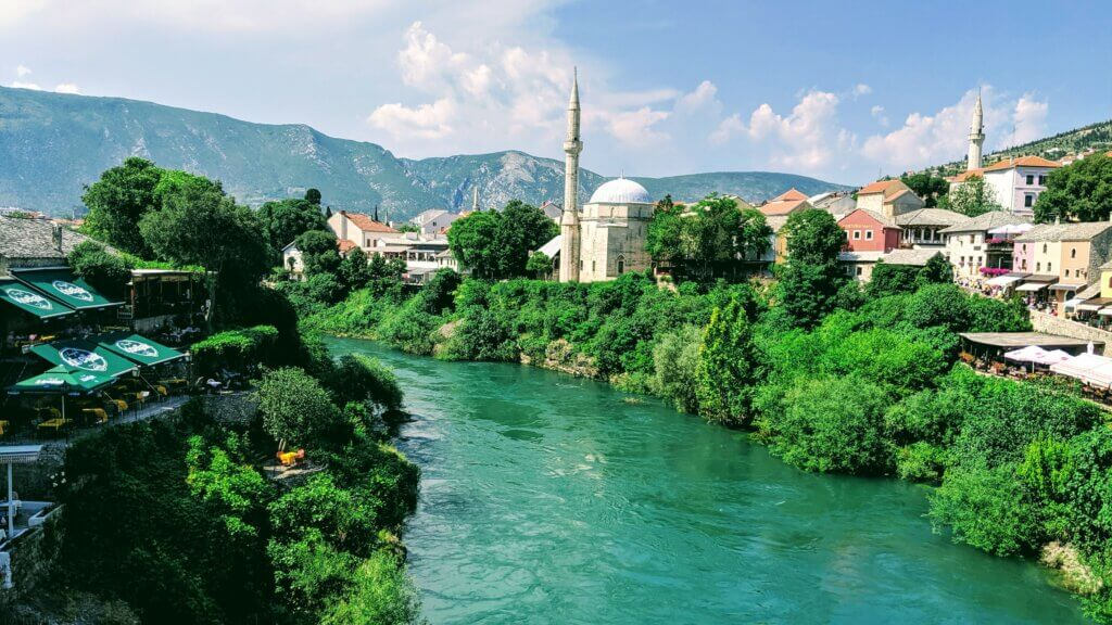 Koski Mehmed Paša Mosque on the turquoise Neretva River is the 5th most interesting thing to see in Mostar.