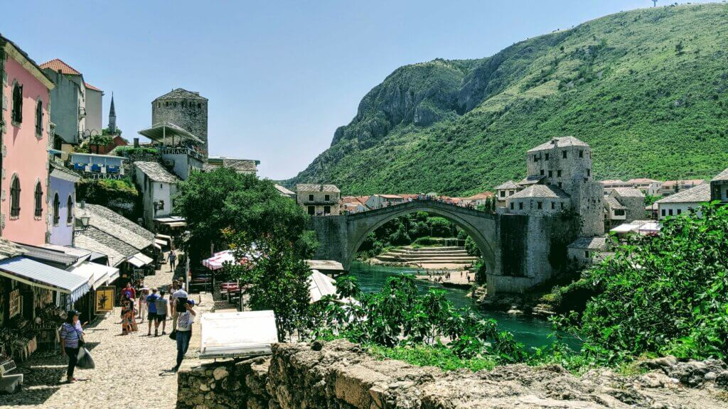 Cobblestone paths of Old Town Mostar lead to the Stari Most (Old Bridge)