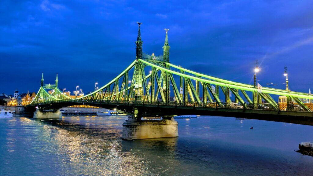 Liberty Bridge in Budapest is a great place to watch the sunset.