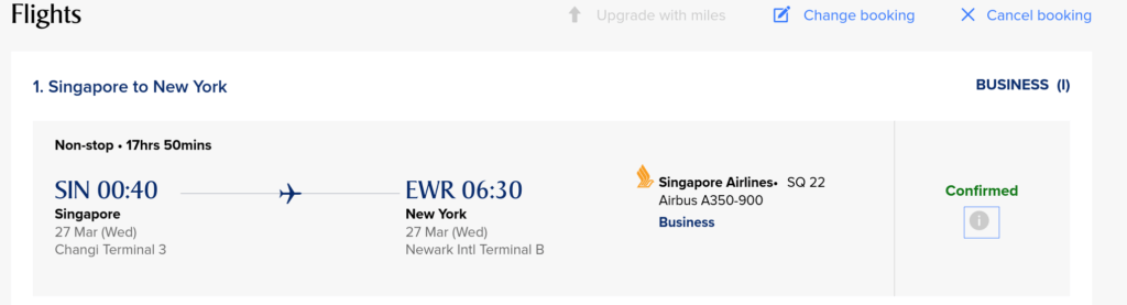 SIN-EWR Award Availability